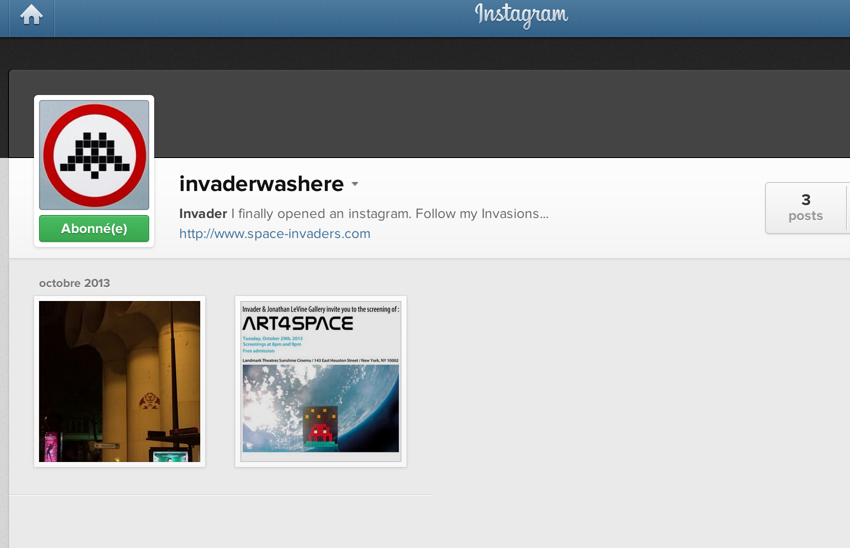 news space invader ouvre un compte instagram. Black Bedroom Furniture Sets. Home Design Ideas