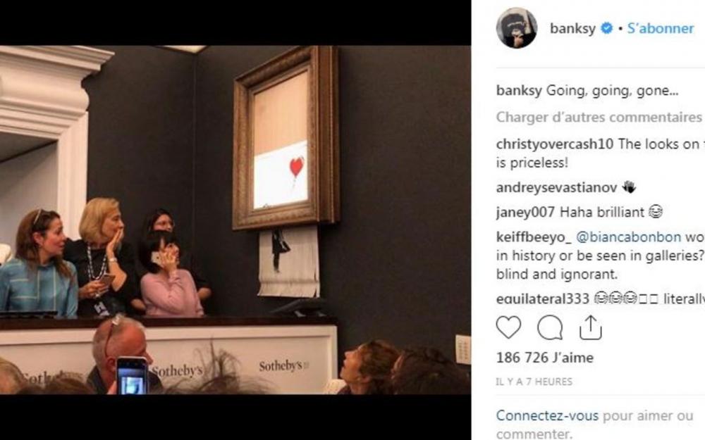News Banksy révèle les dessous de sa toile qui s'est auto-détruite - Maquis