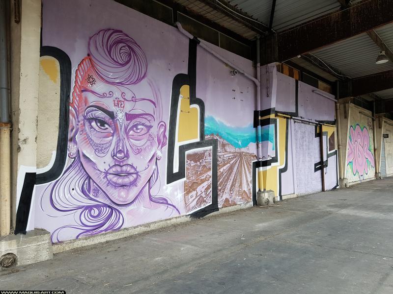 Photo de WUEN, JALLAL, LFE, réalisée au Maquis-art Wall of fame - L'aérosol, Paris