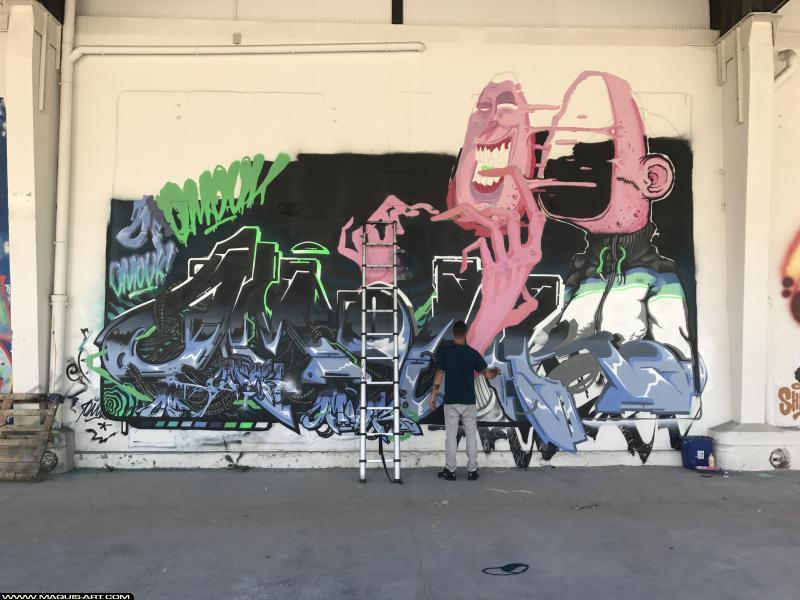 Photo de OMOUK, réalisée au Maquis-art Wall of fame - L'aérosol, Paris