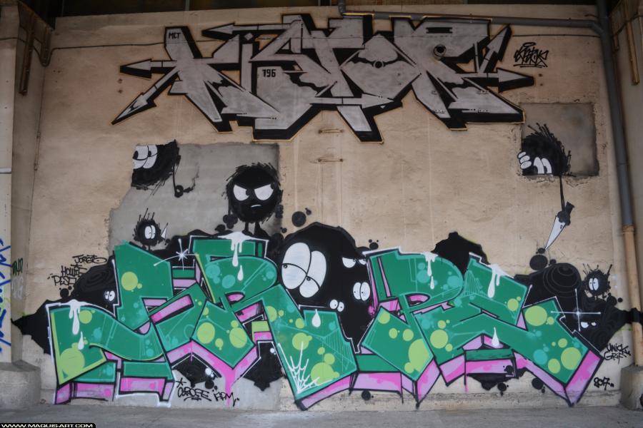 Photo de KISTOR, PASTEK, réalisée au Maquis-art Wall of fame - L'aérosol, Paris