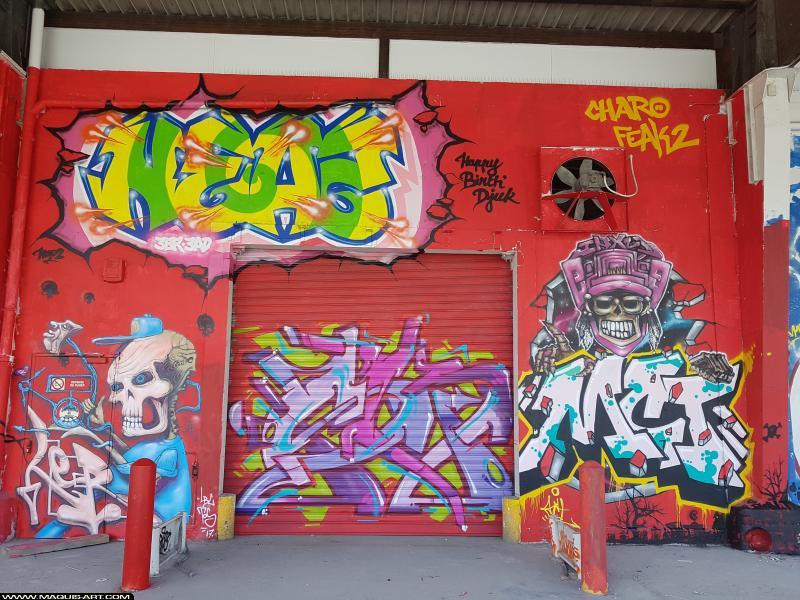 Photo de LER, SKEY, MCTby , NEAZ (OTS), réalisée au Maquis-art Wall of fame - L'aérosol, Paris