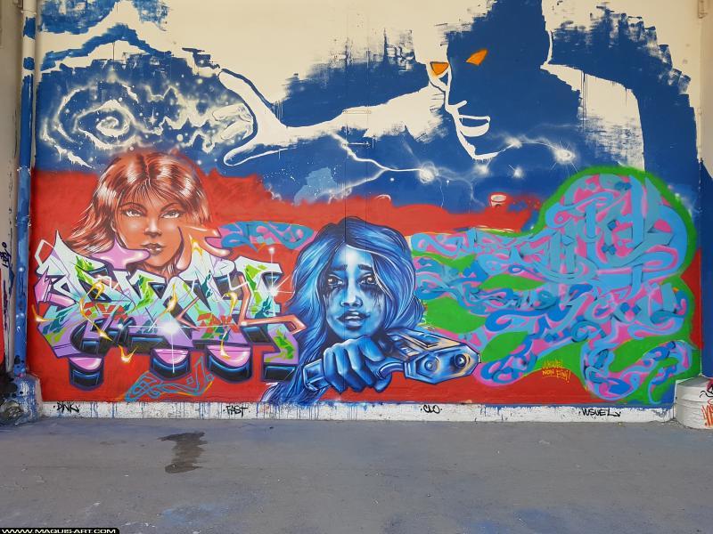 Photo de DINK, CLO, VUSUEL, FAST, réalisée au Maquis-art Wall of fame - L'aérosol, Paris