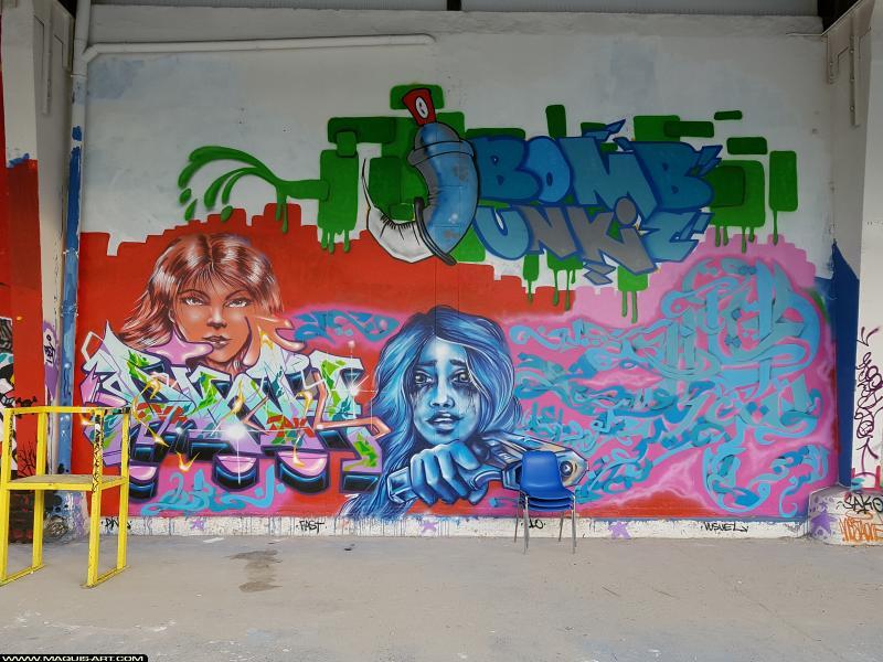 Photo de FAST, DINK, CLO, VUSUEL, ???, réalisée au Maquis-art Wall of fame - L'aérosol, Paris