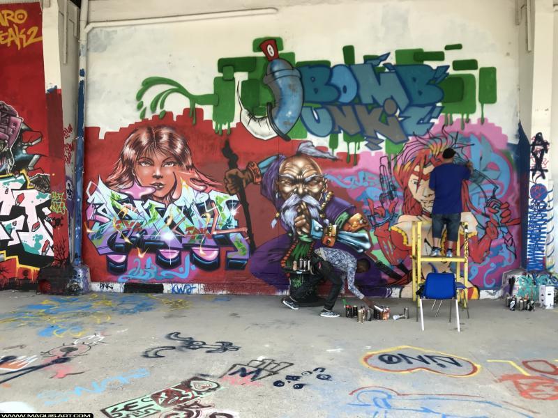 Photo de DINK, FAST, ???, réalisée au Maquis-art Wall of fame - L'aérosol, Paris