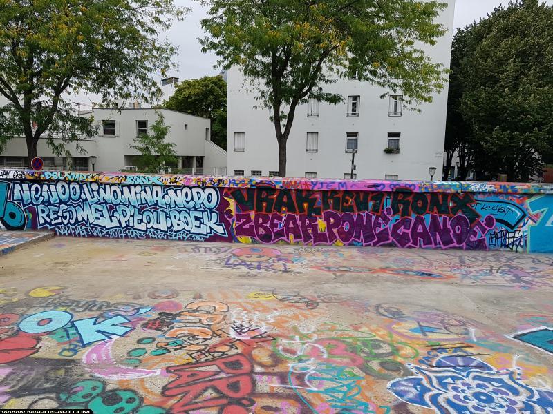 Photo de PONé, BOEK, VRAK, RONX, ZBEAR, CANOé, réalisée au Maquis-art Wall of fame - L'aérosol, Paris