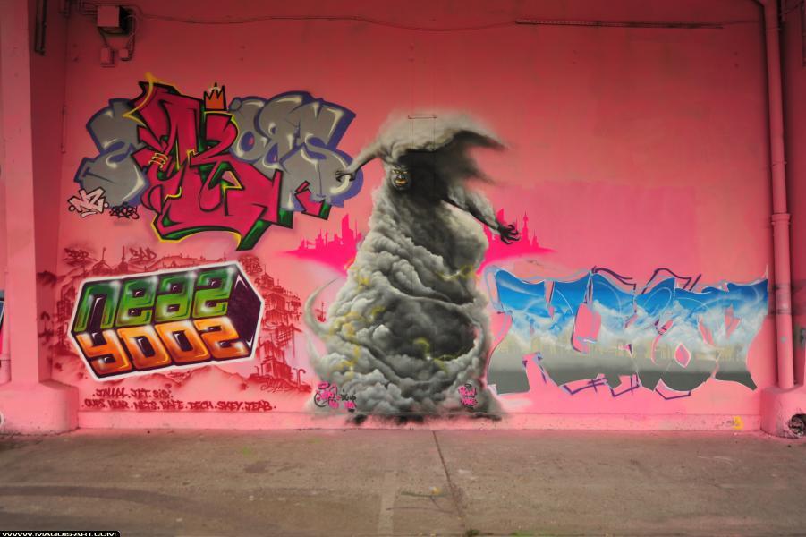 Photo de NEAZ (OTS), YDOZ, 2ROBS, 6CYN, ALKOV, réalisée au Maquis-art Wall of fame - L'aérosol, Paris