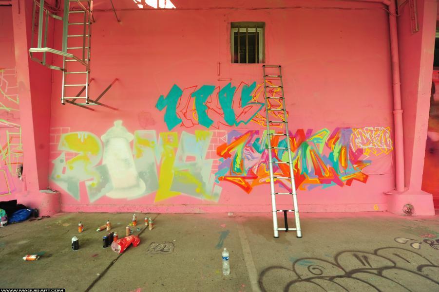 Photo de RAMSES, GEMO, KAYSE, réalisée au Maquis-art Wall of fame - L'aérosol, Paris