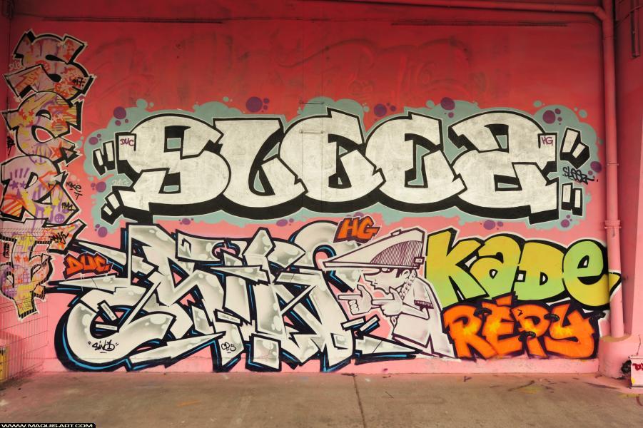 Photo de SLEEZ, SINO, KADE, REPY, réalisée au Maquis-art Wall of fame - L'aérosol, Paris