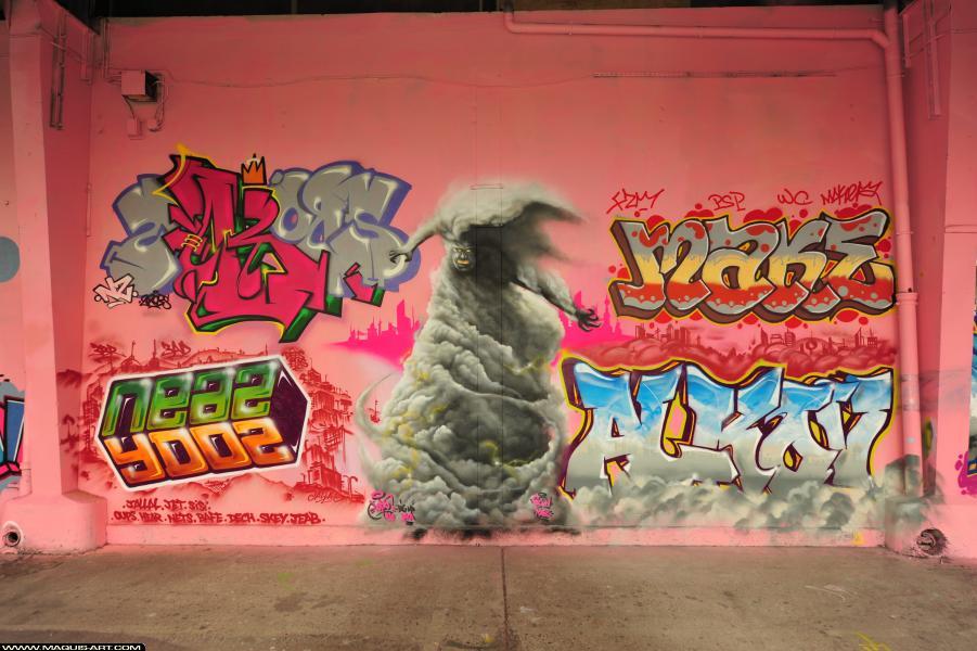 Photo de 2ROBS, 6CYN, YDOZ, ALKOV, réalisée au Maquis-art Wall of fame - L'aérosol, Paris