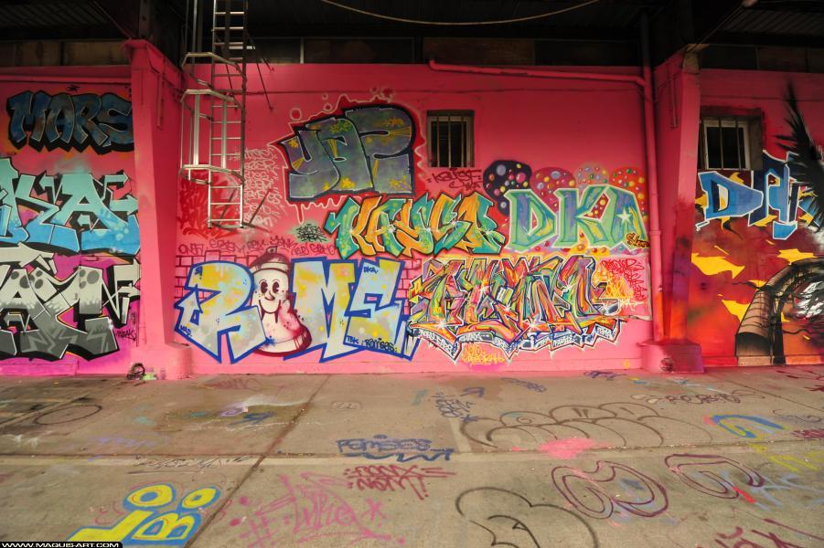 Photo de 2UAS, KAYSE, GEMO, YASE, DKA, réalisée au Maquis-art Wall of fame - L'aérosol, Paris