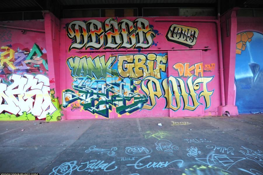 Photo de DEACE, YANK, GRYFE, POU7 (ODC), GEODE, réalisée au Maquis-art Wall of fame - L'aérosol, Paris