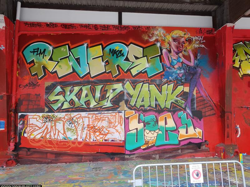 Photo de YANK, REVERSE, SKALP, OMOUK, JOE.J, réalisée au Maquis-art Wall of fame - L'aérosol, Paris