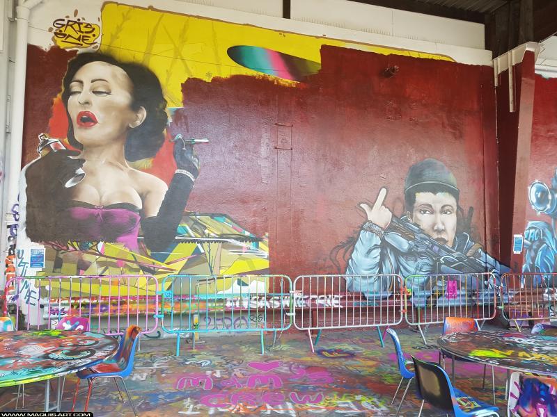Photo de JOWEL, SINTEZ, réalisée au Maquis-art Wall of fame - L'aérosol, Paris