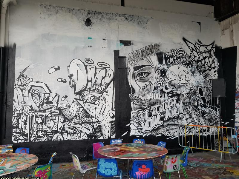 Photo de JALLAL, OMOUK, réalisée au Maquis-art Wall of fame - L'aérosol, Paris