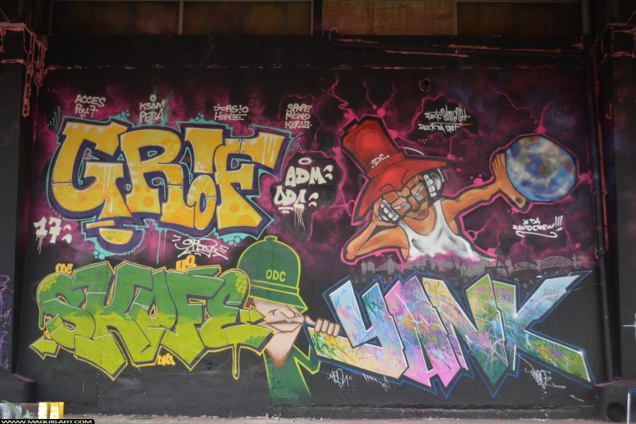 Photo de GRIF, YANK, SMASH, SKOFE, ODC, DKA, 156, réalisée au Maquis-art Wall of fame - L'aérosol, Paris