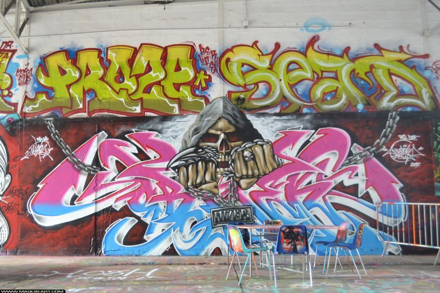 Photo de MIZER, PROZE (3ER LFE), SEAD, OBSEK, réalisée au Maquis-art Wall of fame - L'aérosol, Paris