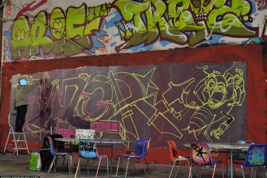 Photo de KURTZ AMOR, 1MC, réalisée au Maquis-art Wall of fame - L'aérosol, Paris