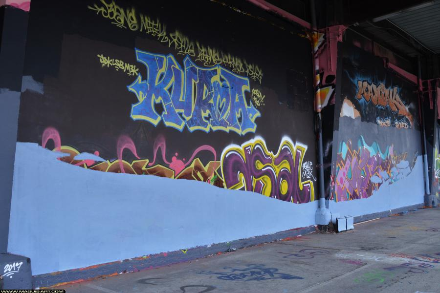 Photo de OMOUK, TOREK, ???, réalisée au Maquis-art Wall of fame - L'aérosol, Paris