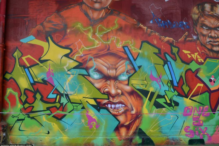 Photo de FAST, TNB, CP5, TVA, 156, réalisée au Maquis-art Wall of fame - L'aérosol, Paris