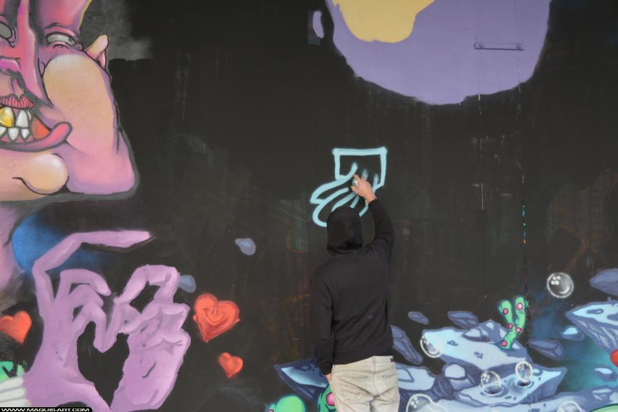 Photo de OMOUK, FLM, FR75, réalisée au Maquis-art Wall of fame - L'aérosol, Paris