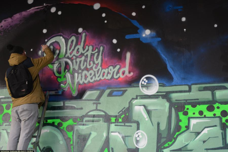 Photo de OMOUK, ODV, FLM, FR75, réalisée au Maquis-art Wall of fame - L'aérosol, Paris