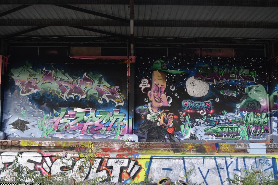 Photo de OMOUK, TOREK, KSPER, LE LOTUS, FR75, ODV, FLM, réalisée au Maquis-art Wall of fame - L'aérosol, Paris
