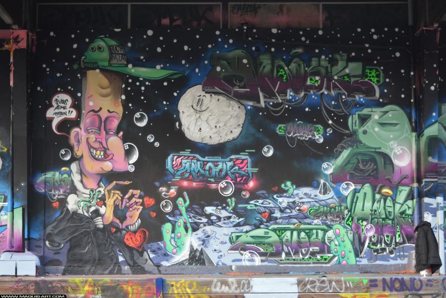 Photo de OMOUK, FR75, FLM, ODV, réalisée au Maquis-art Wall of fame - L'aérosol, Paris