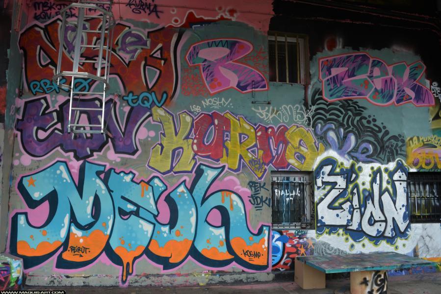 Photo de KURMA, KURMA, ???, RDK, M3K, réalisée au Maquis-art Wall of fame - L'aérosol, Paris