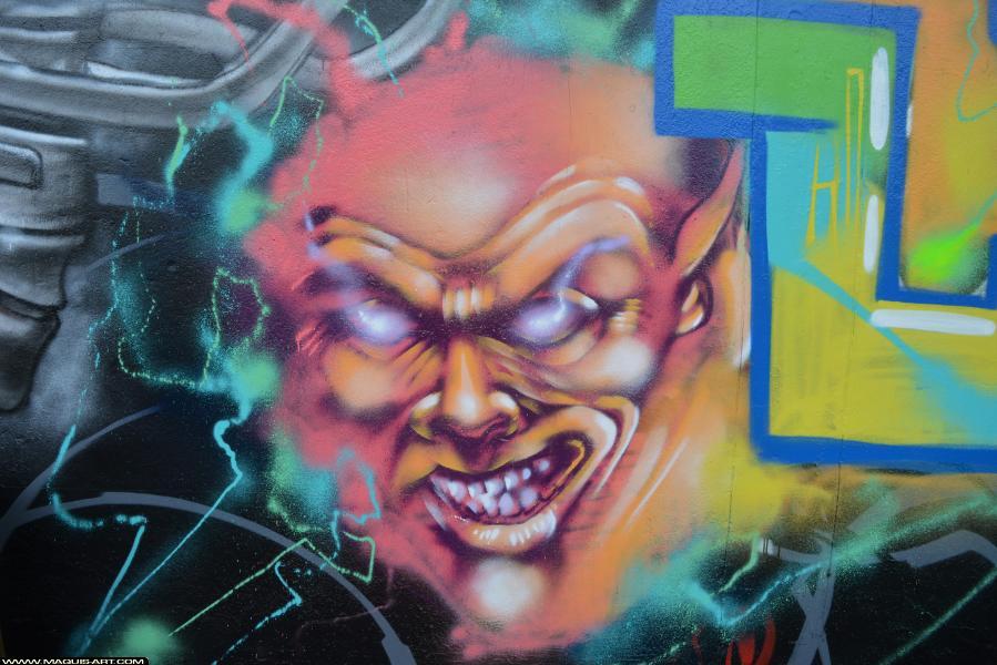 Photo de FAST, TVA, CP5, TNB, réalisée au Maquis-art Wall of fame - L'aérosol, Paris