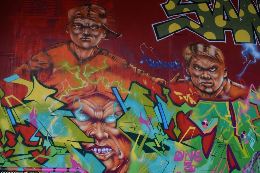 Photo de FAST, TVA, TNB, CP5, réalisée au Maquis-art Wall of fame - L'aérosol, Paris