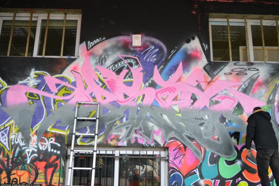Photo de HOBSEK, DEF, RG, réalisée au Maquis-art Wall of fame - L'aérosol, Paris