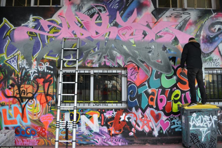 Photo de HOBSEK, RG, DEF, réalisée au Maquis-art Wall of fame - L'aérosol, Paris