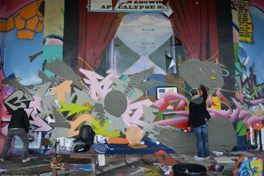 Photo de DUNE, MIZER, DEF, RG, réalisée au Maquis-art Wall of fame - L'aérosol, Paris