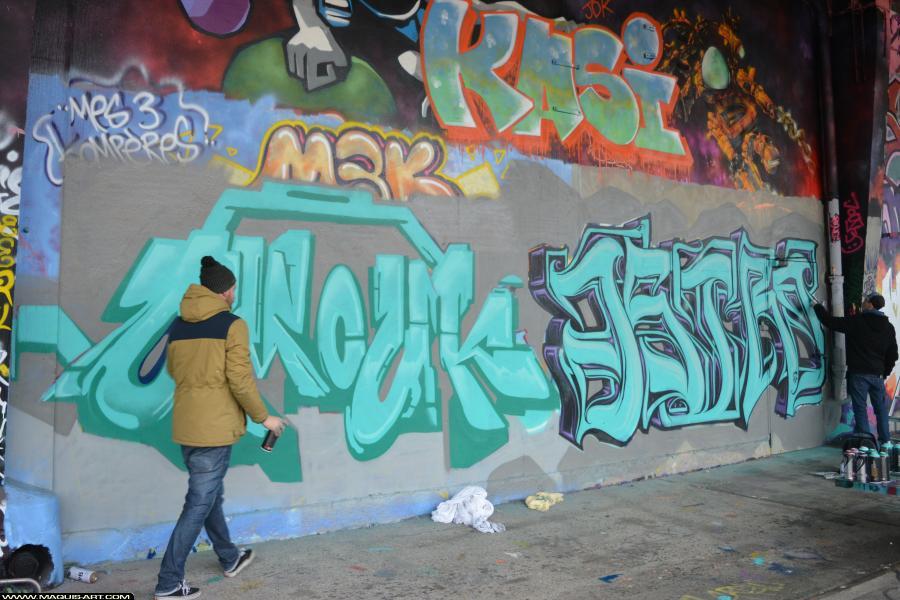 Photo de OMOUK, ASTRO, ODV, FR75, FLM, réalisée au Maquis-art Wall of fame - L'aérosol, Paris