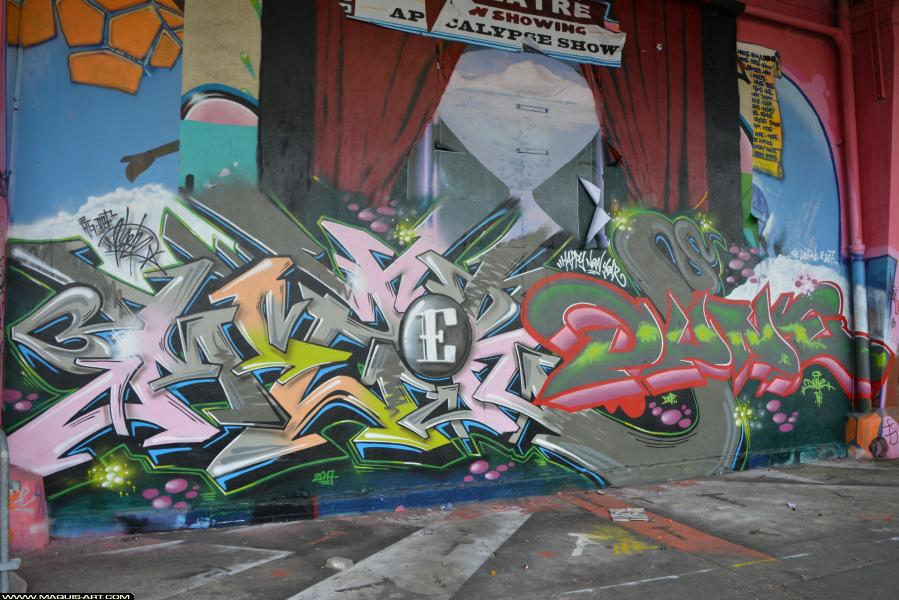 Photo de MIZER, DEF, RG, DUNE, réalisée au Maquis-art Wall of fame - L'aérosol, Paris
