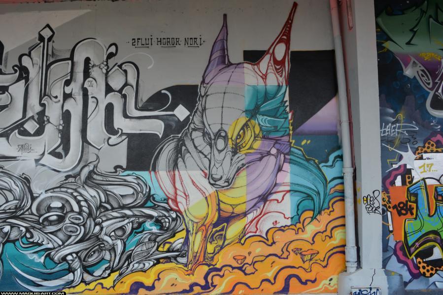 Photo de NORIONE, FLUIDE, HOROR, réalisée au Maquis-art Wall of fame - L'aérosol, Paris