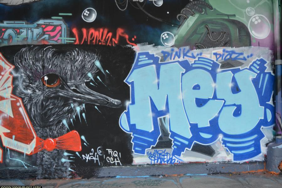 Photo de MEY, TTQ, CCH, réalisée au Maquis-art Wall of fame - L'aérosol, Paris