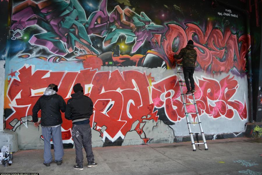 Photo de FYSA, BEER, LFE, BA, réalisée au Maquis-art Wall of fame - L'aérosol, Paris