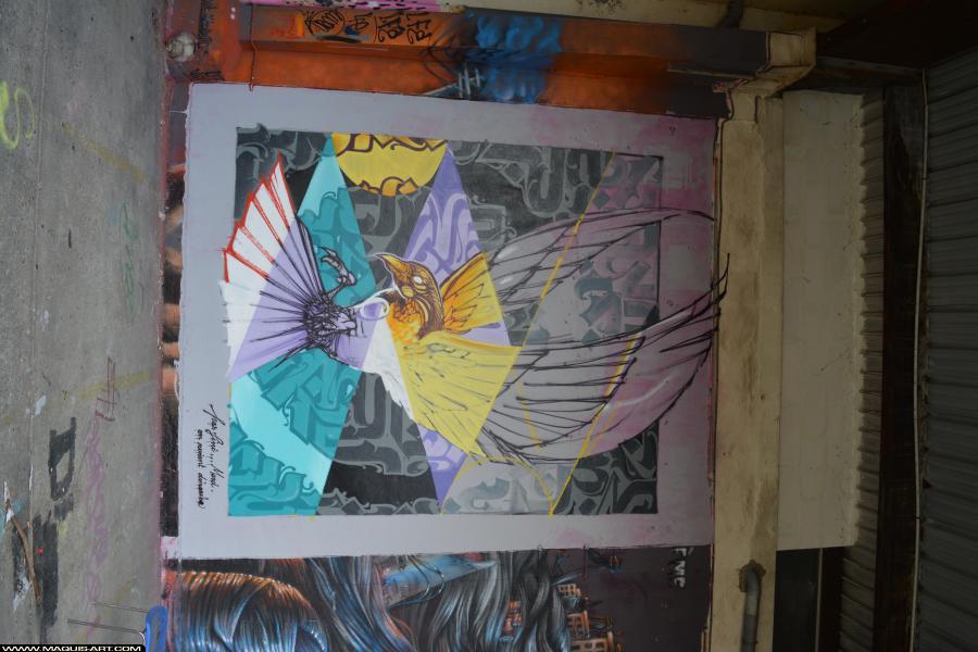 Photo de NORIONE, FLUIDE, réalisée au Maquis-art Wall of fame - L'aérosol, Paris