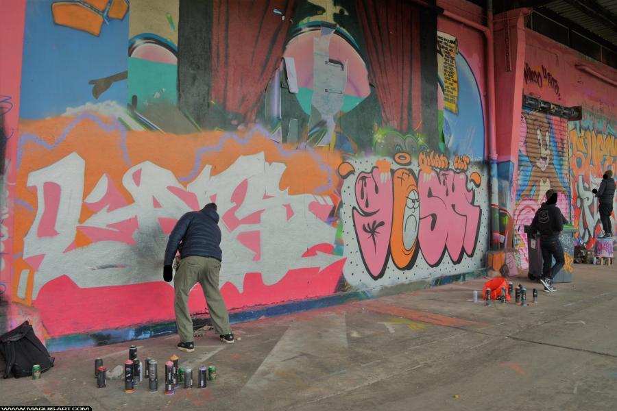 Photo de YOSH, LARS, CKT, WS, 3DT, CMS, réalisée au Maquis-art Wall of fame - L'aérosol, Paris