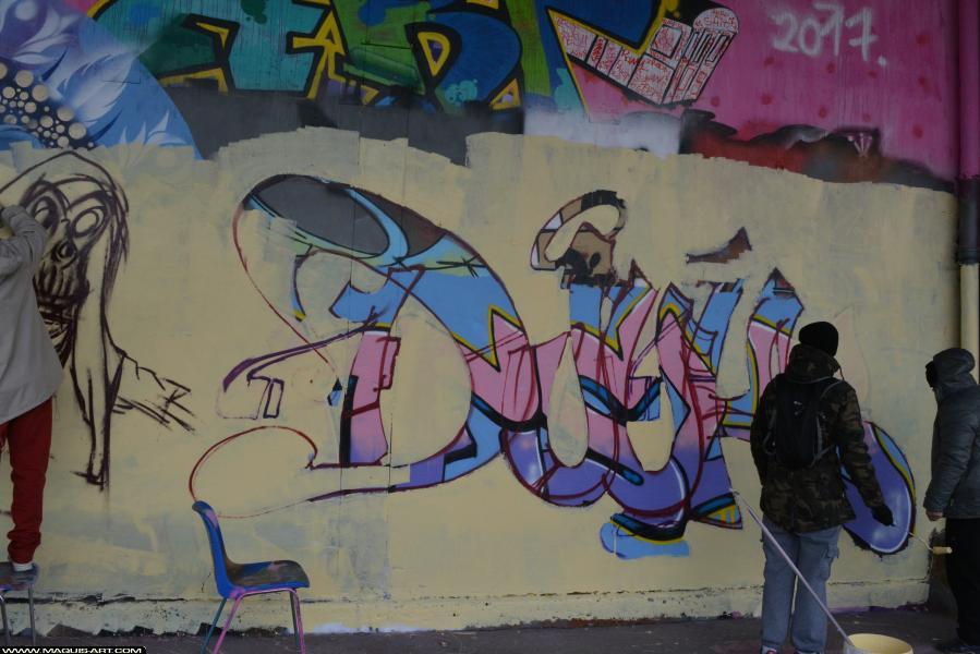 Photo de DJUK, ???, PCK, HG, MCT, ALC, réalisée au Maquis-art Wall of fame - L'aérosol, Paris