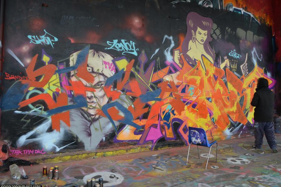 Photo de 2RODE, 90DBC, DKA, NST, RST88, VMD, D77, CKT, réalisée au Maquis-art Wall of fame - L'aérosol, Paris