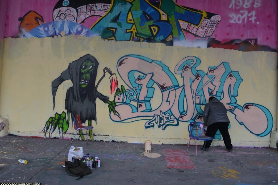 Photo de DJUK, ???, MCT, PCK, ALC, HG, réalisée au Maquis-art Wall of fame - L'aérosol, Paris