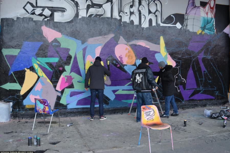 Photo de DIKSA, VMD, GT, CMP, RST88, réalisée au Maquis-art Wall of fame - L'aérosol, Paris