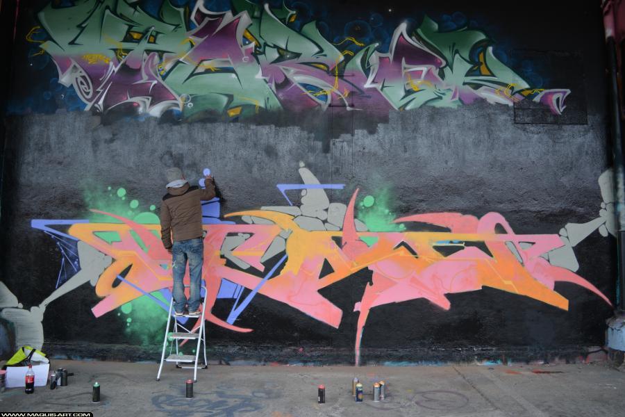 Photo de PESA, ADM, DKP, CTS, réalisée au Maquis-art Wall of fame - L'aérosol, Paris