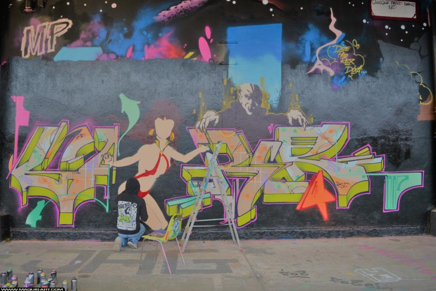 Photo de GABONE, BNC, CES, réalisée au Maquis-art Wall of fame - L'aérosol, Paris