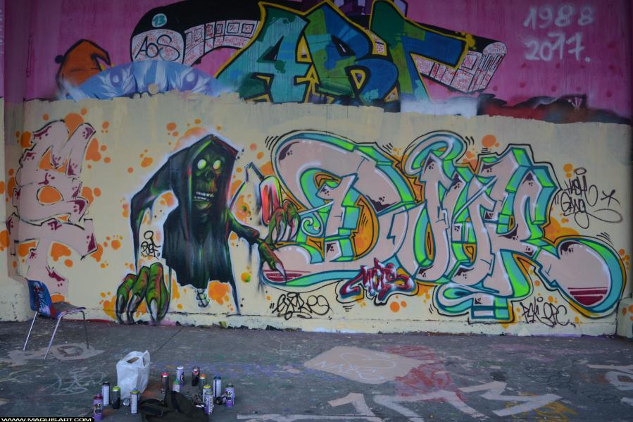 Photo de DJUK, ???, MCT, HG, PCK, OPC, réalisée au Maquis-art Wall of fame - L'aérosol, Paris