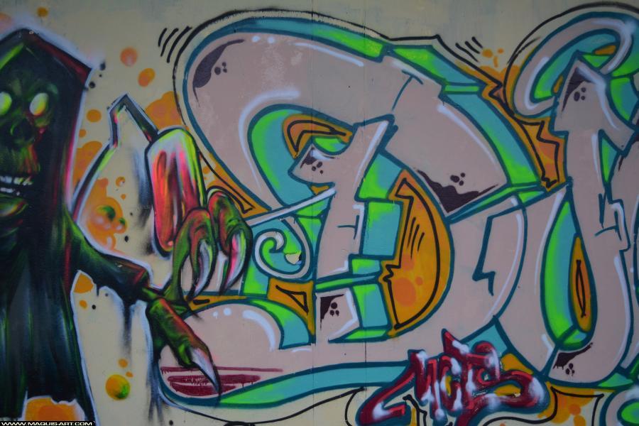 Photo de DJUK, ???, MCT, PCK, HG, OPC, réalisée au Maquis-art Wall of fame - L'aérosol, Paris