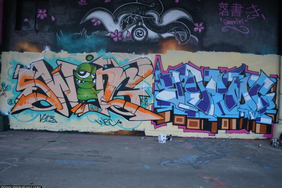 Photo de SWING, MCT, WBC, V13, AGOMER, TMV, CLM, réalisée au Maquis-art Wall of fame - L'aérosol, Paris